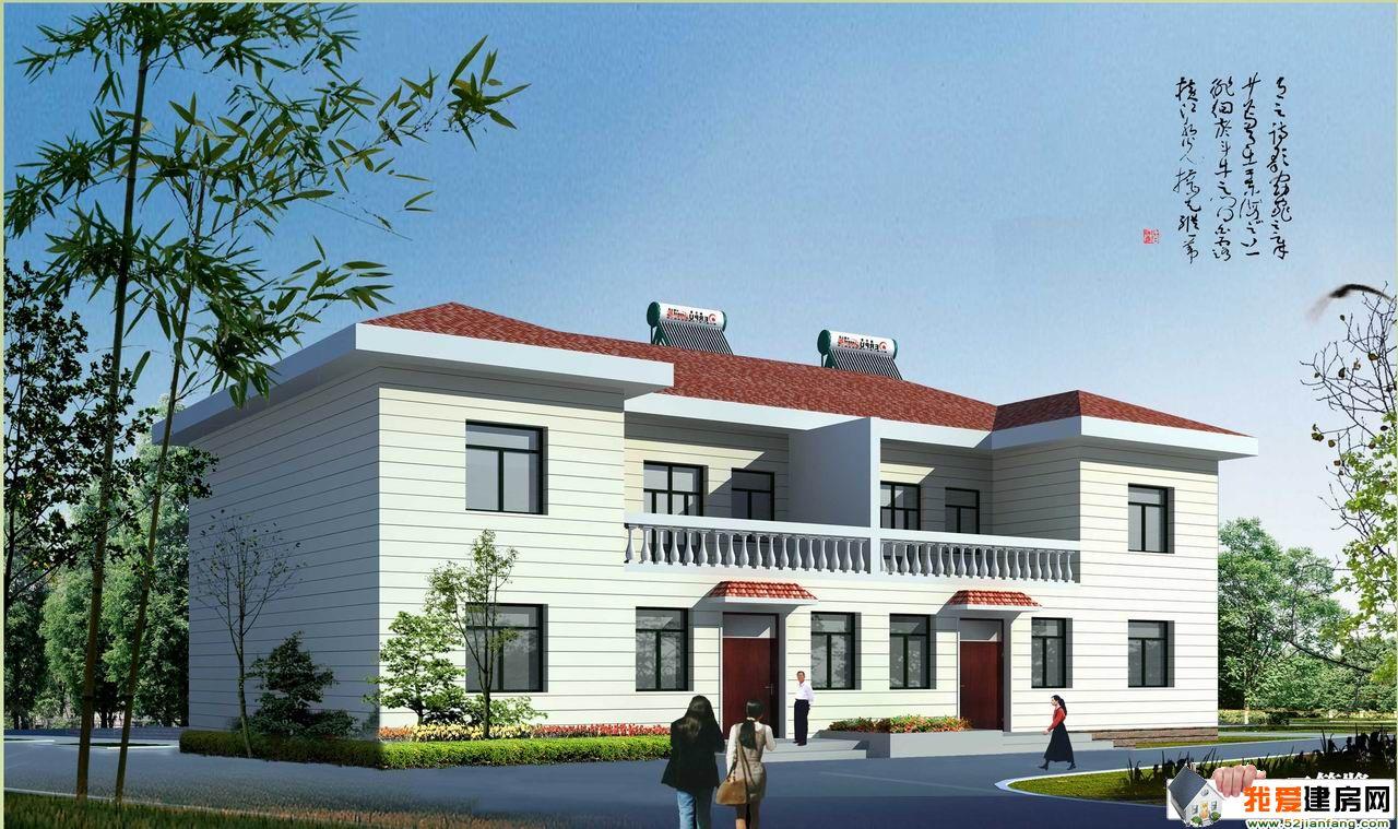 二层双拼简约时尚型农村房屋设计效果图